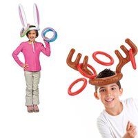 Wholesale Gift Items For Children - Inflatable Reindeer Antler Ring Hats Toss Holiday Party Game Supply Toys for Children Kids Christmas Gifts Items Free Shiiping