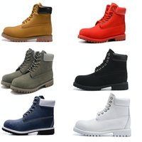 Wholesale Laced Heels - Men's Ankle Basic Contrast Collar Boot Waterproof Boot Men Women Leather Outdoor Boots 6 color EUR 36-46
