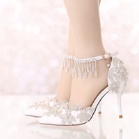 Wholesale Bride Heel Sandals - Summer Sandals White Pointed Toe Bridal Wedding Party Shoes Crystal High Heel Bride Dress Shoes with Rhinestone Ankle Straps