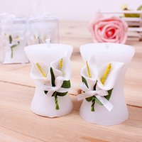 Wholesale Calla Wedding Candles - Elegance Calla Lily Vase Shaped Candle Wedding Party Decoration Candle Wedding Favor Gift DHL Free Shipping