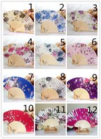 Wholesale Hand Fan Supplies - New Chinese Japanese Vintage Fancy Folding Fan Hand Wooden Lace Silk Flower Dance Fans Party Supplies For Gift