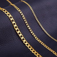 Wholesale 4mm Gold Chain - Men Gold Link Chain Necklace 4MM 6MM 8MM Chain Jewelry Necklace 18k Gold Plated Chain Popular Fashion Classic Accessories Pendant Jewelry