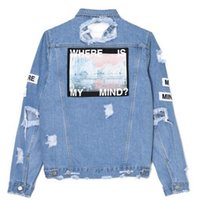 Wholesale Women S Retro Washed - Where is my mind? Korea retro washing frayed embroidery letter patch jeans bomber jacket Light Blue Ripped Denim Coat Daylook new shipping