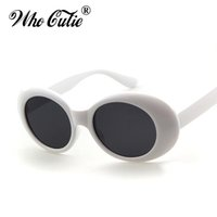 Wholesale Wholesale Acrylic Glasses - Clout Goggles Retro Vintage White Black Oval Sunglasses NIRVANA Kurt Cobain Glasses Alien Shades 90s White Oval Sunglasses Punk Rock Glasses