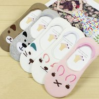 Wholesale Pair New Fashion Pretty Women Invisible Cotton Socks Nonslip Loafer Liner Low Cut Cartoon Animal