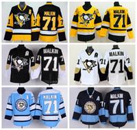 Wholesale Penguin Classics - Pittsburgh Penguins 71 Evgeni Malkin Hockey Jerseys Throwback Winter Classic Malkin Penguins Jersey Retro Black Blue White Yellow