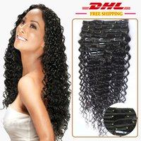 Wholesale African Curly Hair - Brazilian Virgin Hair Clip ins Deep Wave Curly Hair Weave Websites African American Clip in Human Hair Extensions 120g set