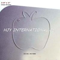 """Wholesale Clear Blank Acrylic - (20pcs lot) 3"""" Blank Clear Acrylic Apple Key Chain Christmas Eve Apple -AC1062"""