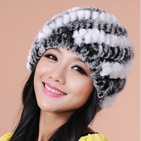 Wholesale Vintage Beanies Hats - Winter Warm Women Knitted Real Rex Rabbit Fur Hat Natural Striped Rex Rabbit Fur Cap lady Headwear Beanies vintage fashion 2017
