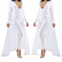 Wholesale White Deep V Bodysuit - Wholesale- Women Long Sleeve Deep V Neck Bodysuit Sexy Olive Green White Cap Cloak One Piece Choker Bodycon Jumpsuit Plus Size Rompers