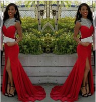 Wholesale Discount Modern Art - Free Shipping Elegant Mermaid Sexy Red High-Neck Evening Dress 2017 Split Crystals African Discount Prom Dress