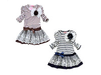 Wholesale Ty Dresses - Girls' Dress Striped Flower Long Sleeve Girl Autumn long sleeve Striped Dresses Girl Lace Dresses Kids clothes Cotton Baby Clothing TY 001