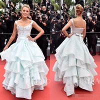 Wholesale Blake Lively Yellow Dress - 2016 Cannes Film Festival Celebrity Dresses Blake Lively Tiered Prom Gowns Long A-Line Red Carpet Scoop Neckline Appliqued Evening Dress