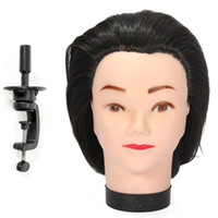 Wholesale Hairdressing Training Head Practice - Wholesale-New 1PC Mannequin 18Inch Long Black Hair Hairdressing Cutting Model Practice Training Head Mannequin With Clamp Barber Accessory