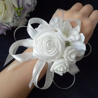 Wholesale Groom Flowers - 10pcs lot high quality tiffany blue wedding wrist hand flowers bride bridesmaids wrist corsages groom corsages boutonniere white