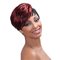 Wholesale mixed color wigs - New Classy Style Capless Top Quality Black&Red Straight Woman 's Fashion Synthetic Wig Freeshipping Party&Cosplay Wigs
