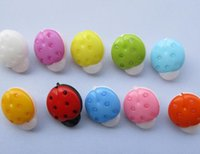 Wholesale Ladybird Clothes - 1000pcs LOT Colorful Dyed Plastic Ladybird buttons coat boots sewing clothes Fashion Accessories MIX COLORS 15MM free shipping HY909