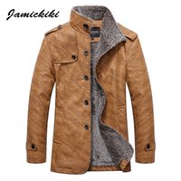 Wholesale men s leather overcoat - Wholesale- Winter Leather Jacket Mens Fashion 2017 Jamickiki Men's Casual Faux Fur Lapel Black and Brown Zipper Overcoat High Quality