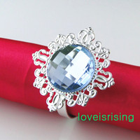 Wholesale Napkin Rings Dhl Shipping - 20 colors for U Pick--FREE DHL SHIPPING-100Pcs Blue Gem Vintage Style Napkin Rings Wedding Bridal Shower Napkin holder-- Free Shipping