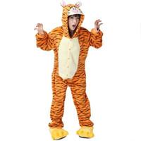 Wholesale Animal Sleepsuit - Adult Flannel Pajamas Cosplay Animals Tigger Cartoon Cute Animal Onesie Pyjama Set Sleepwear Tiger Sleepsuit Yellow Tiger sleepwear jumpsuit