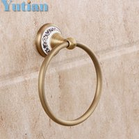 Wholesale Towel Rings Solid Brass - FREE SHIPPING, Bathroom towel holder, solid brass Wall-Mounted Round antique brass Towel Ring with ceramic,Towel Rack,YT-11591