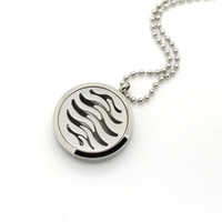 Wholesale Pattern Service - Factory Wholesale Round 316L Stainless Steel Wave Pattern Scented Oil Diffuser Locket Pendant,Provide Customize Service
