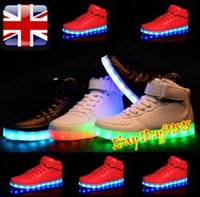 Wholesale Drop Charge - 2016 new High Top Luminous Shoes USB Charging Led Light Trainer Light Up For Adult Unisex lot drop shipping