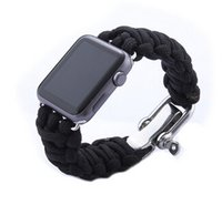 Wholesale Outdoor Nylon Cord - Wholesale-New Parachute Cord Line Watch Band For Apple Watch Band Smart iWatch Strap Outdoor Sports Bracelet Bands With Adapters 38MM 42MM