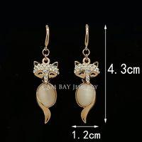 importieren vergoldeten schmuck großhandel-Fuchs geformt Opal + importierte Kristall 18 k Gold vergoldet Ohrringe Set Schmuck Großhandel für Frauen