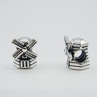 windmühlenarmband großhandel-Passt Original Pandora Armbänder Armreifen Halsketten WINDMÜHLE CHARME DIY Perlen Echt Solide 925 Sterling Silber Nicht Überzogen