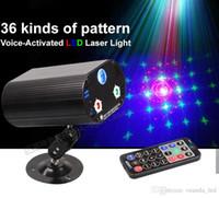 Wholesale Laser Stage Lighting Remote - RGB Stage lighting Blue LED+Red Green Laser Lights 250mW remote laser Party Atmosphere lamp DJ Disco dance Voice-activated laser lights