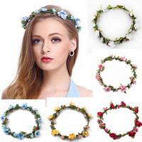 Wholesale Headband Garland - Bohemian Terylene Flower Wreath Garland Crown Festival Wedding Bridal Bridesmaid Floral Headband BOHO Headdress Headpiece Hair Accessories