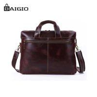 saco de couro italiano dos homens venda por atacado-Atacado-Baigio Couro Genuíno Homens Briefcases 15.5