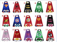 Wholesale Spiderman Masks For Kids Wholesale - Double side L70*70cm kids Superhero Capes and masks - Batman Spiderman Flash Supergirl Batgirl Robin for kids capes with mask 15design