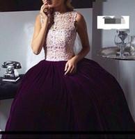 Wholesale Taffeta Lace Peplum Gown - 2016 New Purple Velvet Ball Gown Dubai Prom Dress Lace Applique Crew Neck Formal Party Gown Vestidos De Arabic Evening Dress Floor Length