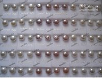 Wholesale Earring Freshwater Pearl - 100Pairs Fashion Jewelry Pearl Earrings Freshwater Pearl 925 Silver Earring 5~6MM Mix Color