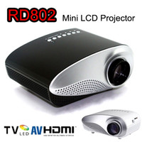 mini proyector av portátil vga al por mayor-Mini proyector portátil 1080P HD LED Proyectores LCD RD802 Reproductor multimedia HDMI / VGA / USB / SD / AV Cine para cine en casa para iPad Portátil