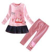 Wholesale Child Tutu Leggings - 2016 Girls fashion suit baby girls clothing children autumn spring sets Cotton dress+striped Leggings pants hot sale