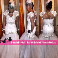 South African Mermaid Wedding Dresses para 2016 Sexy Arab Dubai Noivas Venda Cheap Beaded Pearls Sheer Crew Neck Fit e Flare Bridal Gowns