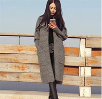 Wholesale Camel Wool Coat Women - 2017 autumn and winter new women's fashion knitted long cashmere coat long-sleeved cardigan sweater coat gray camel free size