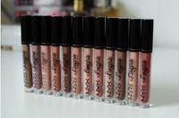 Wholesale 12pcs Lingerie - High-quality   lowest price NEW MAKEUP NYX LIP LINGERIE MATTE Nude velvet liquid lipstick (12 pcs  lot)12pcs Lip gloss Free Shipping