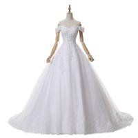 Wholesale Mini Court - 2017 New arrival One-Shoulder A line White Court Train Wedding dress Bridal Gowns