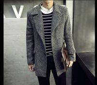 Wholesale Korean Style Wool Coat - New Man's Coat Korean style Long Coat Tide Man's Windbreaker Men's Wool & Blends
