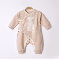 Wholesale baby clothing cartoon online - 2017 autumn and winter newborn baby clothes baby long sleeved jeans cartoon pattern oblique lapel tie color cotton baby conjoined clothing