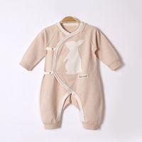 baby-jeans-muster großhandel-2017 Herbst und Winter Neugeborenes Baby Kleidung Baby Langarm Jeans Cartoon-Muster schräge Revers Krawatte Farbe Baumwolle Baby verbunden Kleidung