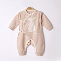 yeni doğmuş bebek kot pantolon toptan satış-2017 sonbahar ve kış yenidoğan bebek giysileri bebek uzun kollu kot karikatür desen eğik yaka kravat renk pamuk bebek yapışık giyim