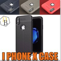 Wholesale Protection Business - New For iPhone X 10 8 8plus For Samsung S8 New Business Leather Pattern Stitching Phone Case TPU Soft Shell Full Protection Anti-drop