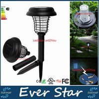 Wholesale Best Mosquito Killers - Best Solar Powered LED UV Mosquito Killer Lamp Outdoor Garden Insect Pest Bug Zapper Insect Killer 11.5 * 32cm
