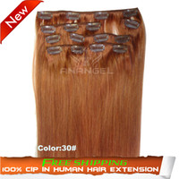 Wholesale Cheap Real Remy Hair Extensions - Wholesale-Cheap 100% Brazilian Virgin Human Weave Kinky Straight 7pcs set Full Head Clip in on Remy Real Hair Extension (color 30#)