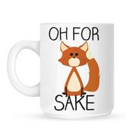 keramischer fuchs großhandel-Oh für Fox Sakes Tassen weiße Kaffeetasse Familie Firends Fuchs Becher Geschenke Reisen Tee Milch Wasser Kaffee Keramik Tassen